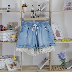 Korean lace stitching  shorts ( light blue)