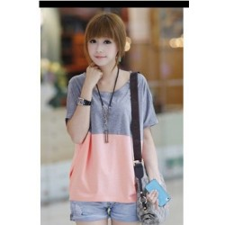 Korea girl short sleeve shirt (grey -pink)