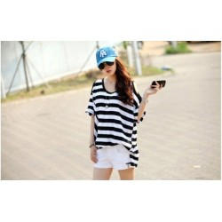 Korea  strapless short-sleeved striped  t-shirt