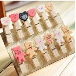 Cartoon bear Wood Clip Set ( 12pc)