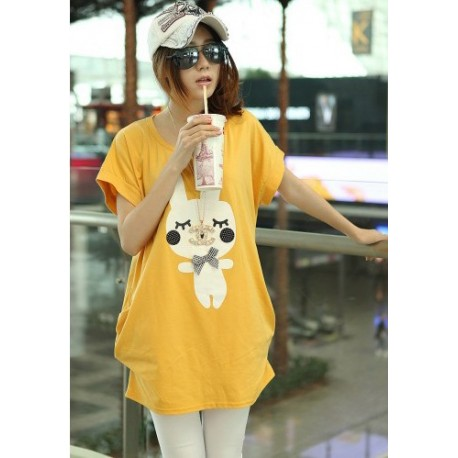 Korea Casual Carton Shirt ( Yellow)