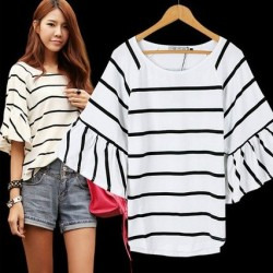 korea stripe blouse with lotus sleeve