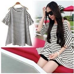 korea large size stripe shirt  (free size)