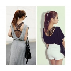 Butterfly Lace Top ( Black)