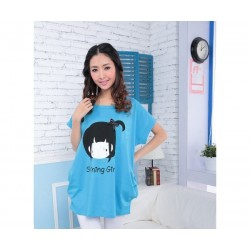 Korea casual cartoon shirt (blue)