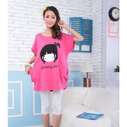 Lorea casual cartoon shirt (pink)