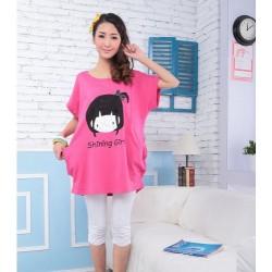 韩版上衣长款短袖卡通t恤(粉红)