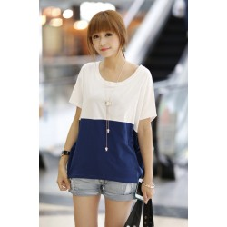 Korea girl short sleeve shirt (white - blue )